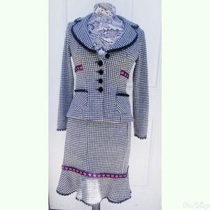 Nanette Lepore Houndstooth Wool blend blazer set